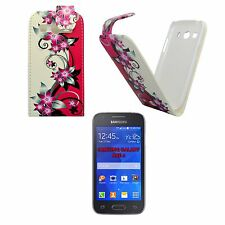 CASE FOR SAMSUNG GALAXY ACE 4 PINK CREAM FLOWER FLIP PU LEATHER POUCH COVER