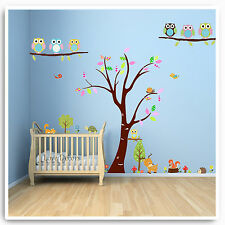 Owl Wall Stickers Jungle Woodland Animal Nursery Baby Kids Bedroom Decal Art