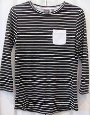 RAFAELLA-Small Pullover Striped Black/White Blouse-Long Sleeves