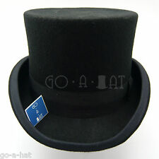 VINTAGE Wool Felt Topper Top Hat Gentlemen Tuxedo Men Victorian | 59cm | Black