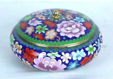 """Cloisonne Floral Motif Bowl with Lid Enamel on Brass Bright Colorful 8.5 x 6"""""""
