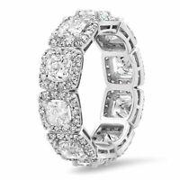 18K White Gold Cushion Diamond Eternity Ring Anniversary Band Size 6.5 Square