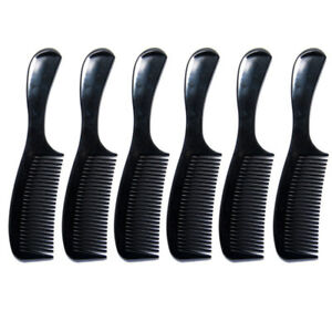 Luxxii - (6 Pack) 8 inch Black Styling Essentials Round Handle Comb Pocket