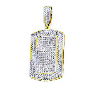 0.9 Ct Round Simulated Men's Dog Tag Pendant In 14K Yellow Gold Over