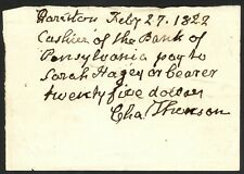 1822 Manuscript Order to Pay - Charles Thomson, Sec. of the Continental Congress