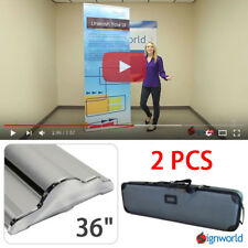 """Retractable Roll Up Banner Stand Height Adjustable Display Sign HD 36"""" 2 PCS"""