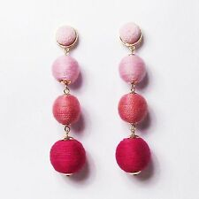 4 -TIERS OF TRI COLOR MULTI PINK SILKY SHEEN DISCO BALL DROP STATEMENT EARRINGS