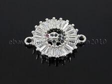 Rectangle Black Zircon Gemstones Pave Elephant Bracelet Connector Charm Beads