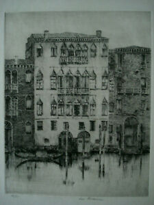 Louis Wolchonok American Impressionist Pencil Signed Etching, Venetian Palaces