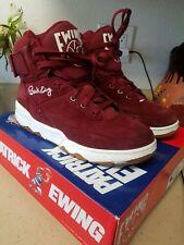 Patrick Ewing 33 High Hi Shoes Burgundy Maroon Suede Black Red White