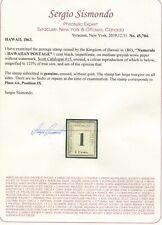 Hawaii Scott #15  Numeral Unused Stamp with sergio sismondo cert.