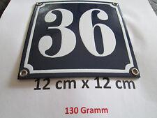 Hausnummer Emaille Nr. 36 weisse Zahl auf blauem Hintergrund 12 cm x 12 cm