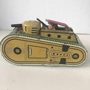 Marx Tank 1937 Vintage/Antique Tin Wind-Up WWI clean original windup with no key