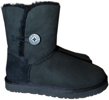 Ugg Australia Bailey Button Boot Fur Lined Shoe 10- 41 In Black New Sale