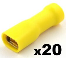 20 Yellow Female 6.3 Spade Connector Insulated Crimp Terminals Electrical Wiring