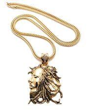 "New African Rasta Lion Bob Marley Pendant 4mm 36"" Franco Chain 14K Gold Plated"