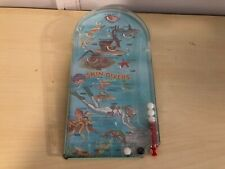 Old Vtg Toy Arcade Game Toy Pinball Skin Divers Fish Scuba Diver Design Colorful