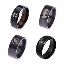 Fashion Batman Superman Hero Symbol Stainless Steel Polished Men Boy Black Rings
