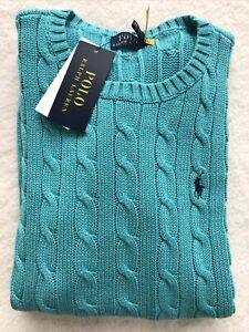 Polo Ralph Lauren sweater women Cotton Classic Turquoise Navy Medium Cable Knit