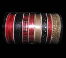 32 Yards Coordinating Red Black Gold Narrow Ribbon