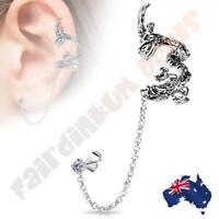 Flying Dragon Ear Cuff with Chain Linked CZ Ear Stud
