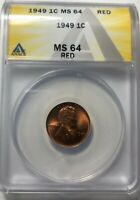 1949 P Lincoln Wheat Cent ANACS Certified MS64 RED