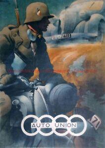german motorcycle DKW Auto Union WWII Poster Print wehrmacht vintage motorbike