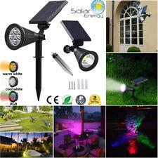 Solar Power 4 LED/COB Garden Wall Lamp Lawn Landscape RGB/ White Path Spot Light