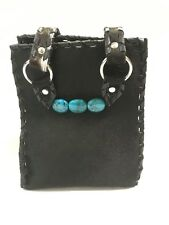 Paige Wallace Black Leather Hair-on Purse w/Double Straps