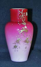 Superior Thomas Webb Peach Glow Gold Enameled Cased Glass Floral Vase