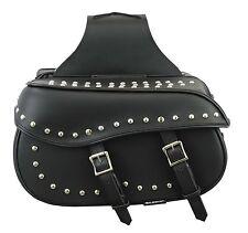Genuine Leather Motorbike Metal dots Design Generous Saddle Bag Panniers Luggage