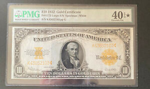 1922 $10 Dollar Gold Certificate Coin Note Large Currency FR1173