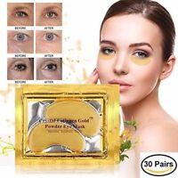 30Pair 24K Gold Powder Crystal Gel Collagen Unisex Eye Masks Anti-Aging&Wrinkles