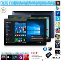 CUBE iWORK 10 64GB INTEL 8300 DUAL OS RETINA WINDOWS 10 ANDROID 5.1 TABLET PC