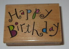 Happy Birthday Rubber Stamp Swirl Greetings A2275D Stampede