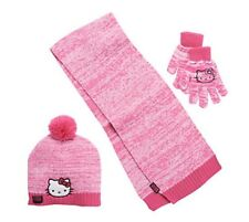 NWT Hello Kitty Marled Pom pom Hat, Gloves and Scarf Set Girls 4-16