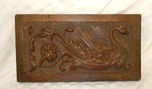 Vintage Oak Panel with Carved Phoenix Bird Detail