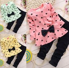 2Pcs Kids Baby Girls Clothing Long Sleeve Bowknot Dress +Pants Set Clothes 9M-5Y