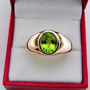 Natural Peridot Gemstone with 925 Sterling Silver Rose Gold Finish Men's Ring