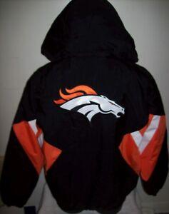 DENVER BRONCOS Starter Hooded Half Zip Pullover Jacket S M L XL 2X BLACK