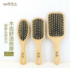 Natural Wooden Massage Comb Head Scalp Straight Curly Hair Comb Massage Brush