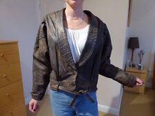 Ladies Vintage Leather Jacket Brown Distressed size 10