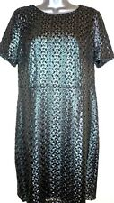 M&S classic lined silver lace short sleeved occasion dress UK 14 new stil tagged
