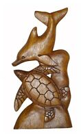 SEA TURTLE DOLPHIN Wood Hand Carved Ocean Sand Island Tropical Wall Art Plaque