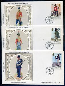 Alderney 1985 Regiments set 5 Benham imitation silk f.d. covers (2020/04/23#06)