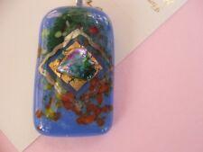 FIONA ARTIST STUDIO Fused Glass Pendant Sea Stones vibrant blue gold