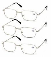 3x Rectangle Reading Glasses Unisex Metal Spring Hinges Eyeglasses 1.0~3.5 KFA63