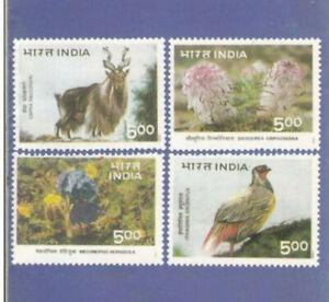 INDIA 1996 HIMALAYAN ECOLOGY BIRD ANIMAL FLOWER 4v SET  MNH