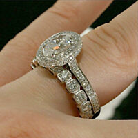 3 CT Oval & Round Cut Diamond Engagement Bridal Band Ring Set 14k White Gold FN