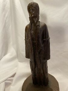 Native American Indian Woman Sculpture Crow Warrior Wife Tall Bear Signed LARGO